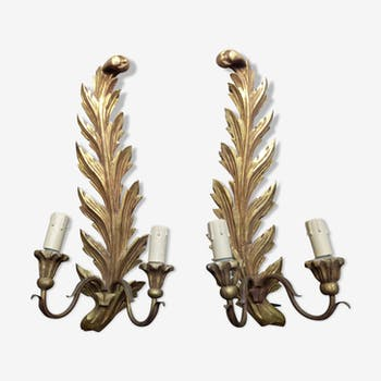 Pair of wooden gilded 19th wall lamps