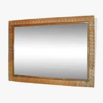 Miroir rectangulaire en rotin vintage 40x55cm