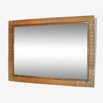 Rectangular mirror in vintage rattan 40x55cm
