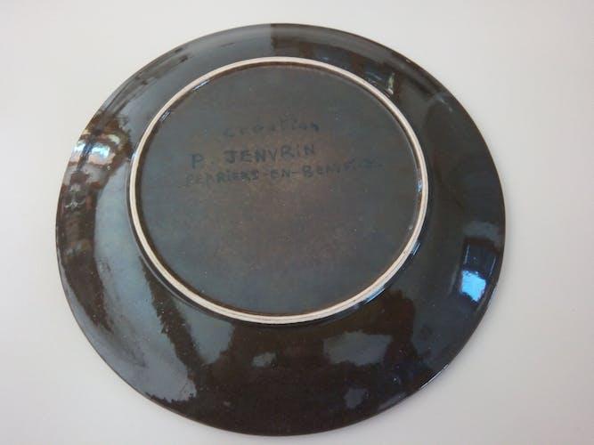 Plat en céramique coq 1960