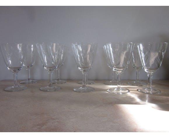 Lot de 10 verres à vin, années 50