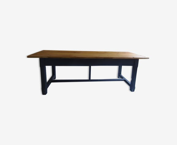 Table de ferme piétement chêne gris ardoise - bois (Matériau) - noir ...