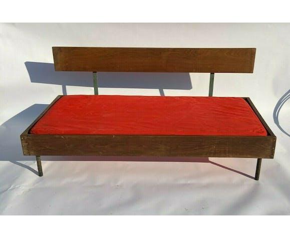 Canape 1960 metal bois assisse rouge tubulaire