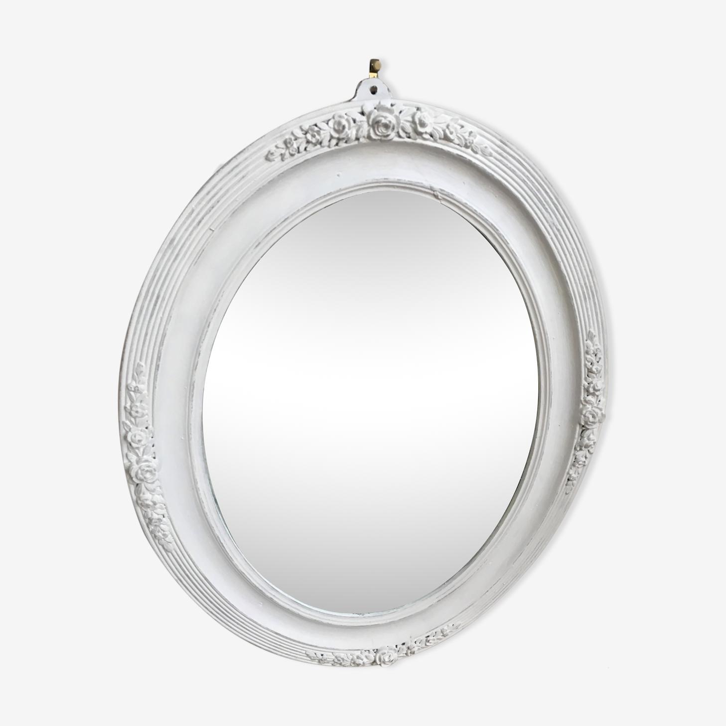 Miroir ovale 19ème au mercure patine blanc shabby 40x50cm