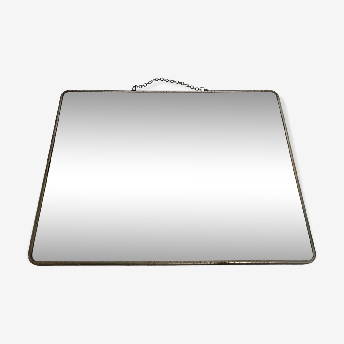 Miroir de barbier ancien avec chaine métal  30x39cm