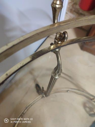 Desserte en laiton plateau en verre