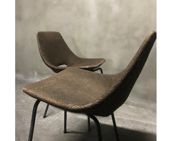 """Suite de 6 chaises """"Tonneau"""" Pierre Guariche, Éditions Steiner"""