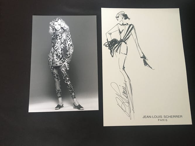 Jean-Louis Scherrer: illustration de mode &photo de presse vintage