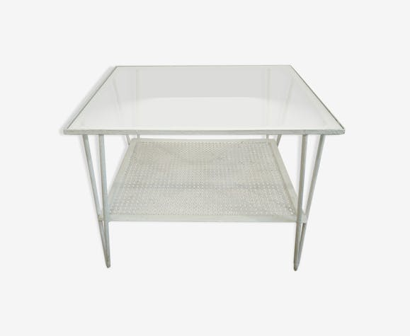 Auxiliary garden coffee table in rigitule and glass years 70