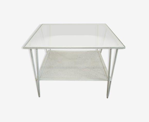 Table basse de jardin en rigitule et verre années 70 - métal ...