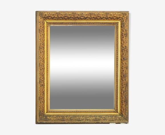 Golden rectangular mirror - 69 X 58 cm