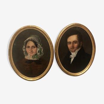 Paire de portrait huile sur toile XIXème