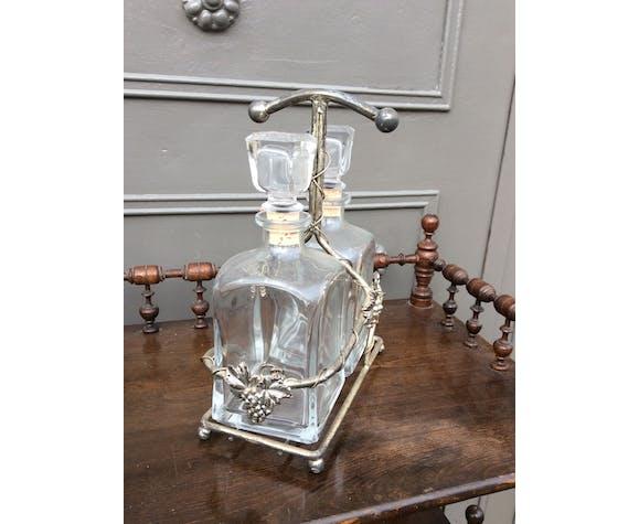Paire de carafes à whisky vintage