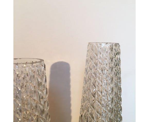 Appliques murale double en verre moulé et laiton