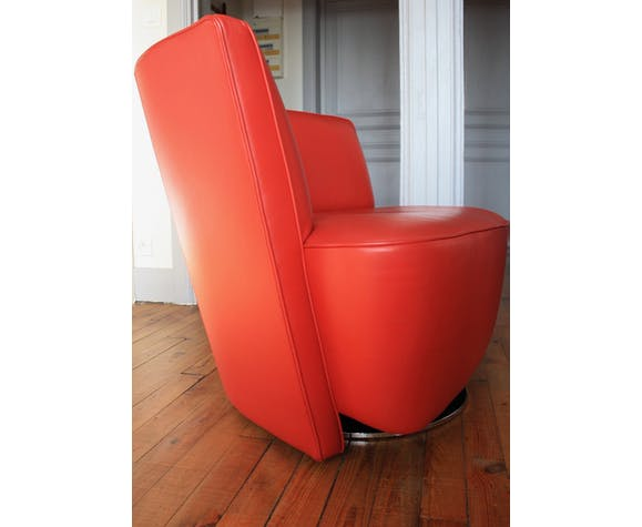 Walter Knoll Design Fauteuil.Red Leather Chair Model Drift Published By Walter Knoll Design
