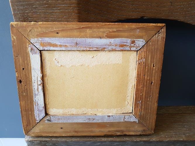 Ancienne huile sur carton encadré