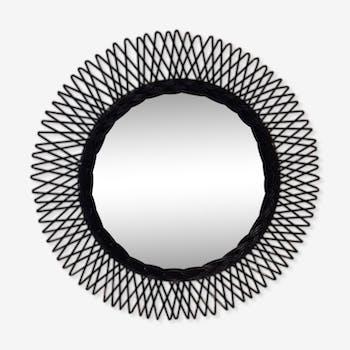 miroir en rotin et osier vintage d 39 occasion. Black Bedroom Furniture Sets. Home Design Ideas