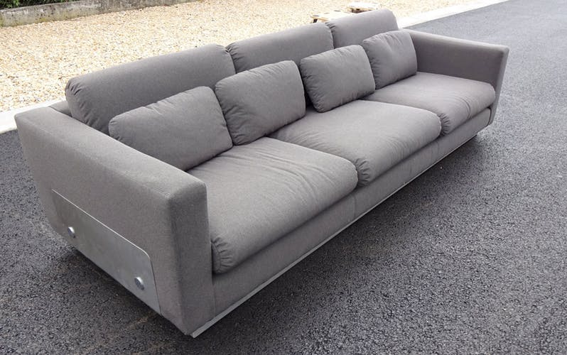 Sofa with steel in the manner of Michel Boyer base
