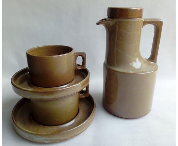 Cafetière et 2 tasses grès de Brenne