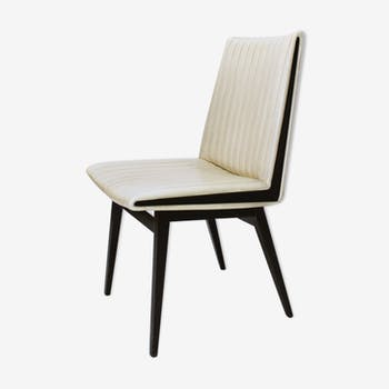 Modern Faux Leather and Ebonized Beech Design Chairs, Austria 1950