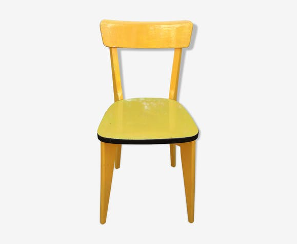 Chaise bois laqué entiérement jaune 1960