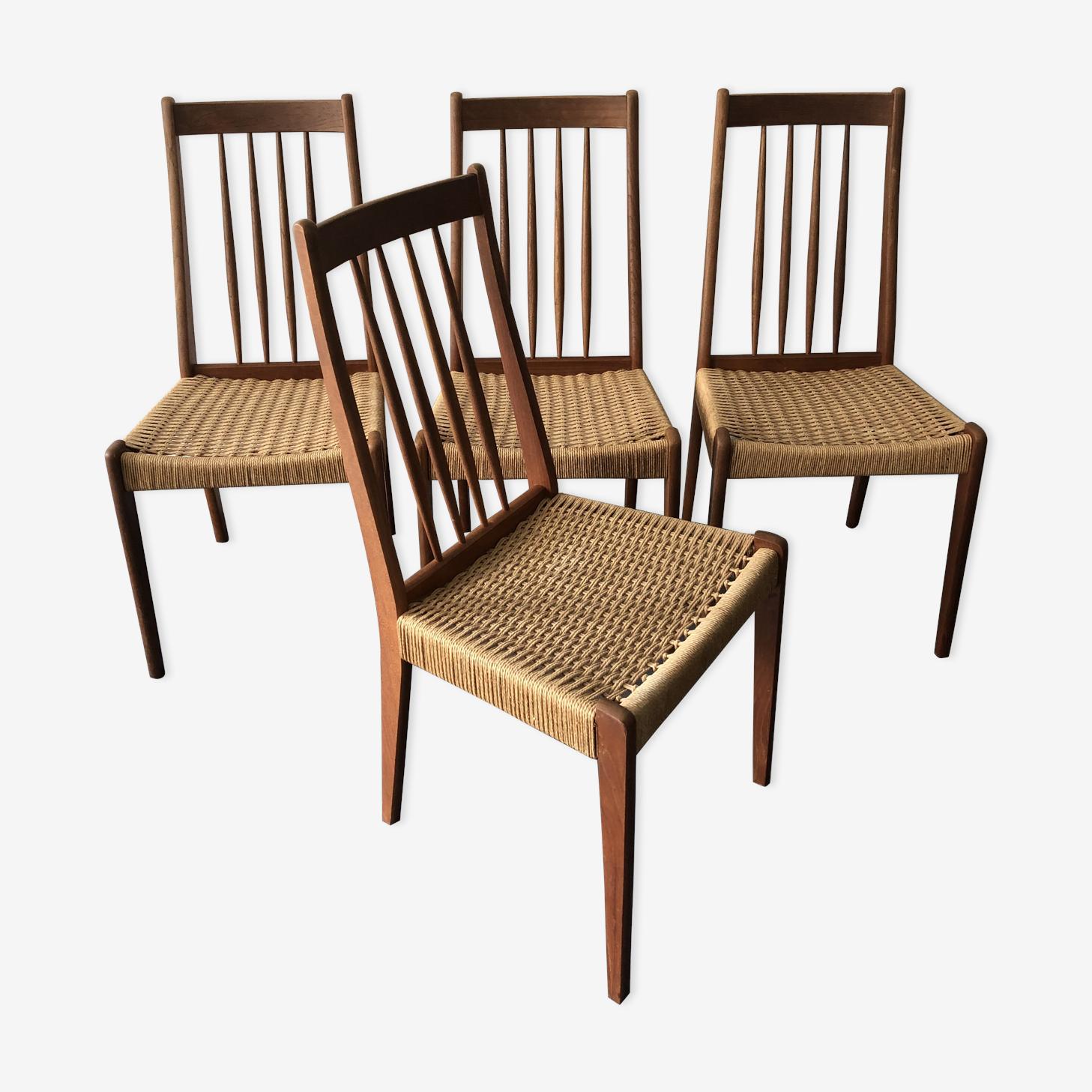 Série de 4 chaises scandinaves en teck et corde, années 60