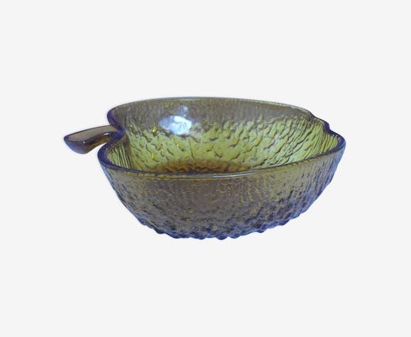 Hollow amber glass dish