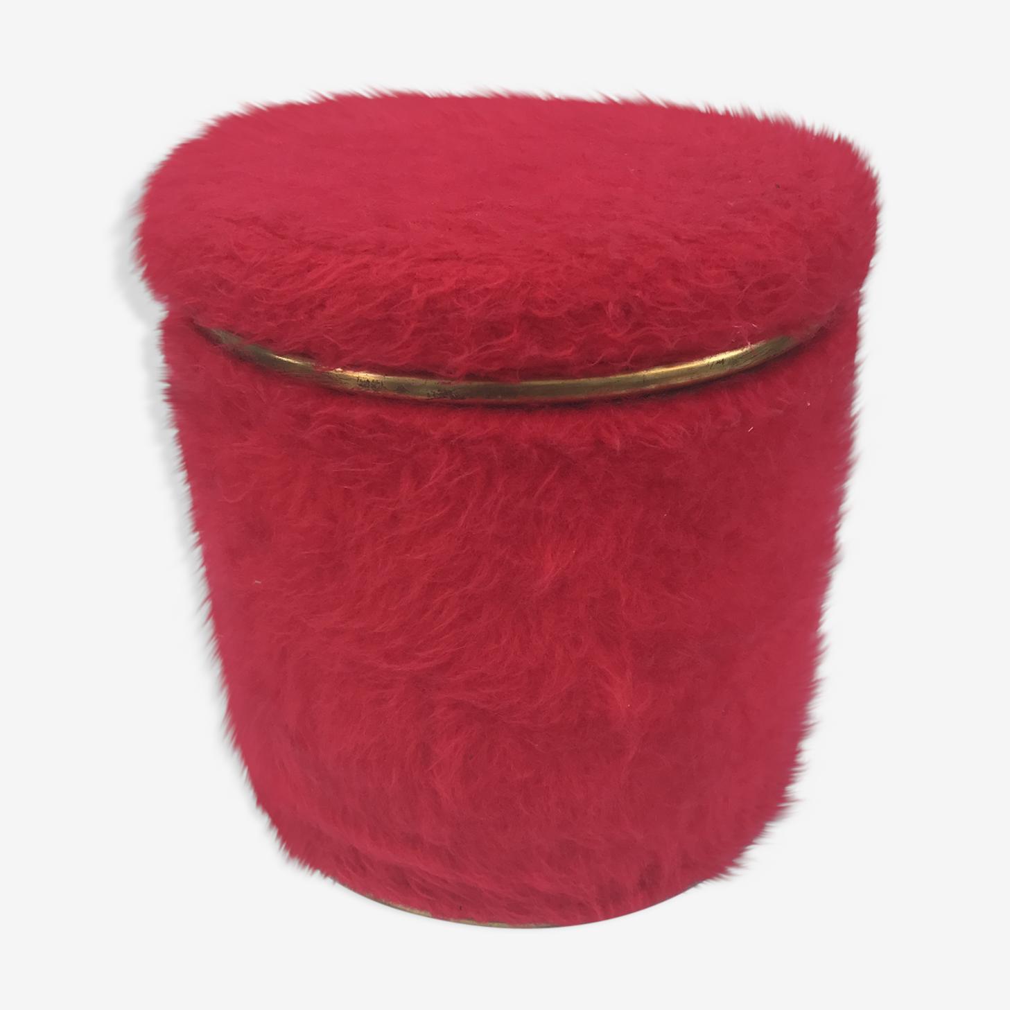 Pouf ancien avec coffre en fourrure rouge des années 70 vintage