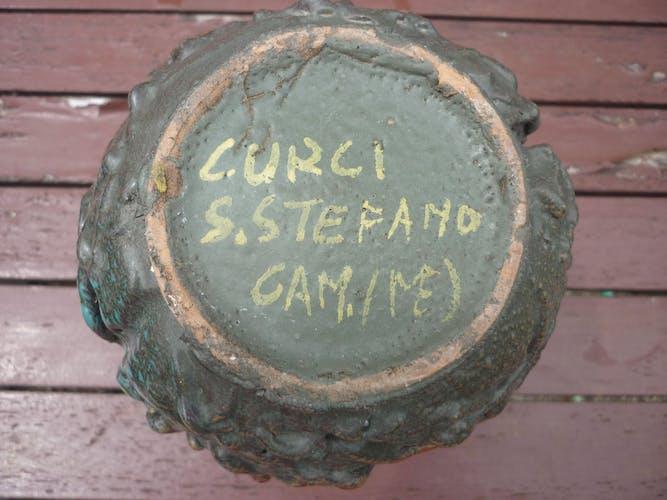 Vase enamelled ceramic vintage Italy signed S. Stefano