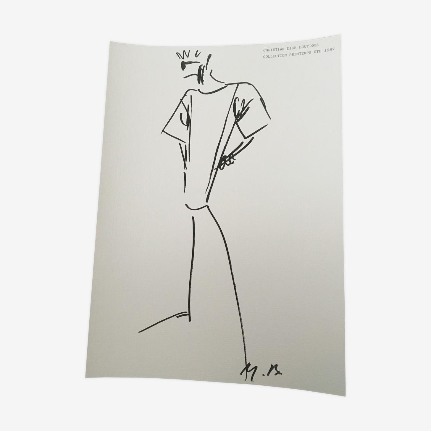 Christian Dior, illustration de mode  de presse fin des années 80