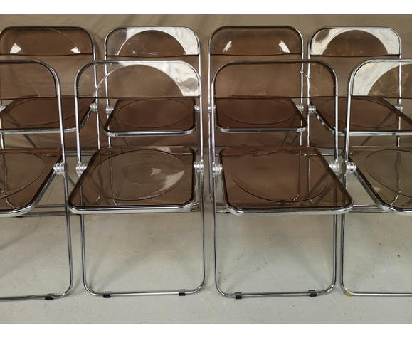 Lot de 7 chaises Plia par Giancarlo Piretti pour Castelli