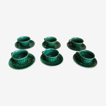 Suite de six tasses et soucoupes vertes  vintage années 50-60