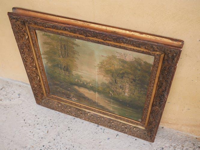 Tableau ancien, peinture sur toile
