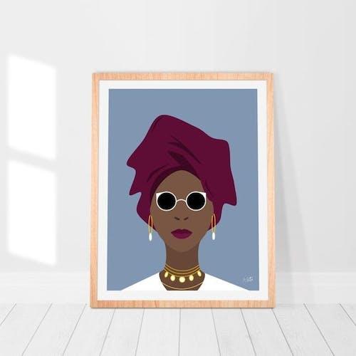 Illustration A3 - Femme africaine - Art minimaliste