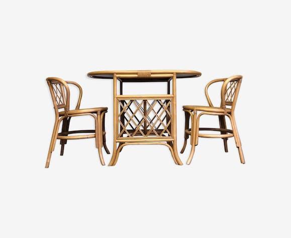 Set Table Chaises Salle A Manger Tiki En Osier Bambou Et Rotin
