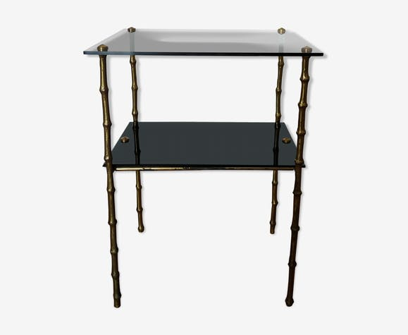 Table d'appoint en bronze et verre des années 50