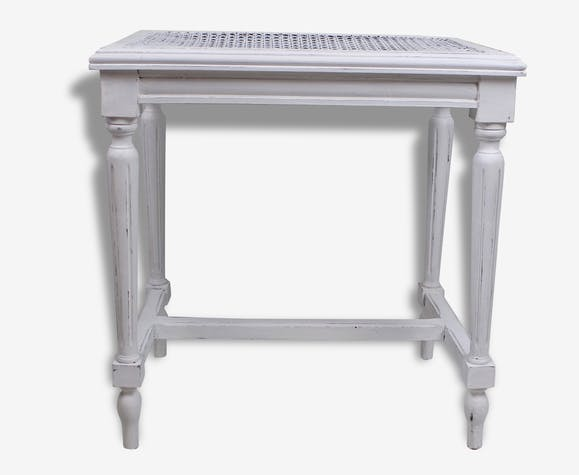 tabouret de piano patine blanc shabby chic bois mat riau blanc classique 83089. Black Bedroom Furniture Sets. Home Design Ideas