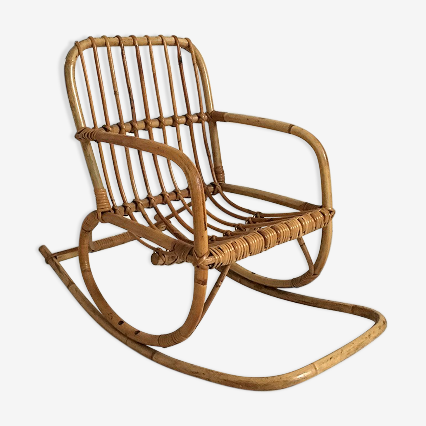 Rocking chair child in vintage rattan 60