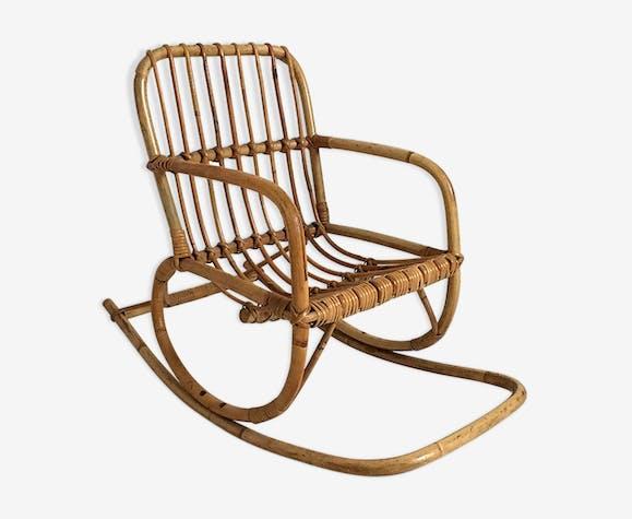 Rocking chair child in vintage rattan 60