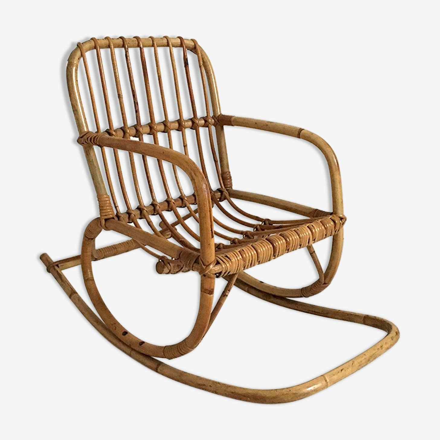 Rocking chair enfant en rotin vintage 60