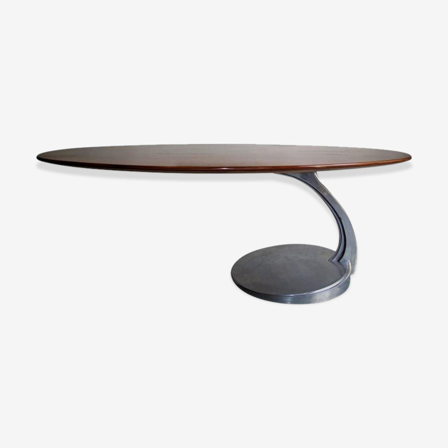 Table en bois de rose et aluminium Michele Charron
