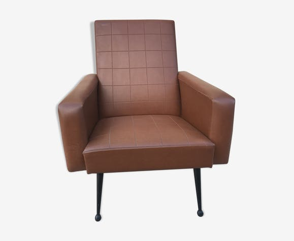 Armchair in brown leatherette, 1960