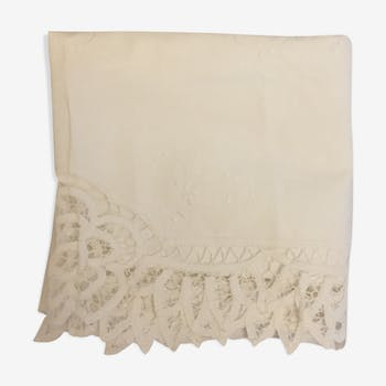 Old embroidered square tablecloth