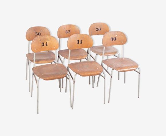 Lot de 6 chaises d'école vintage