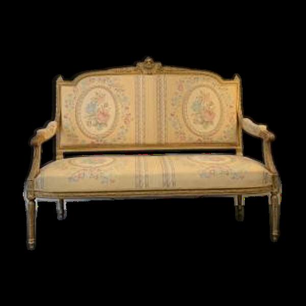 Banquette canapé en bois doré XIX éme de style Louis XVI
