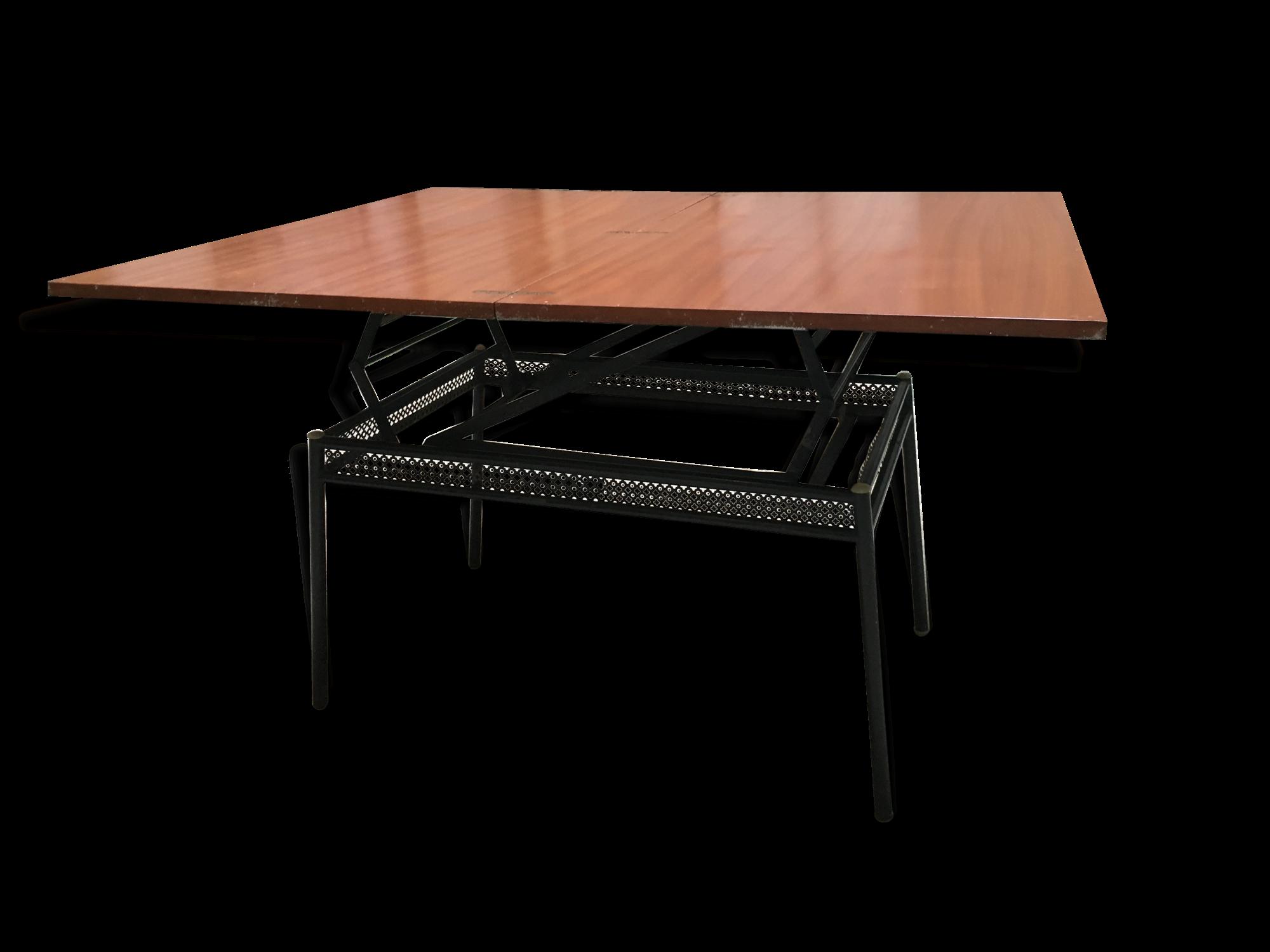 Table Basse Convertible Métal Perforée Vintage   Metal   Black   Industrial    101419