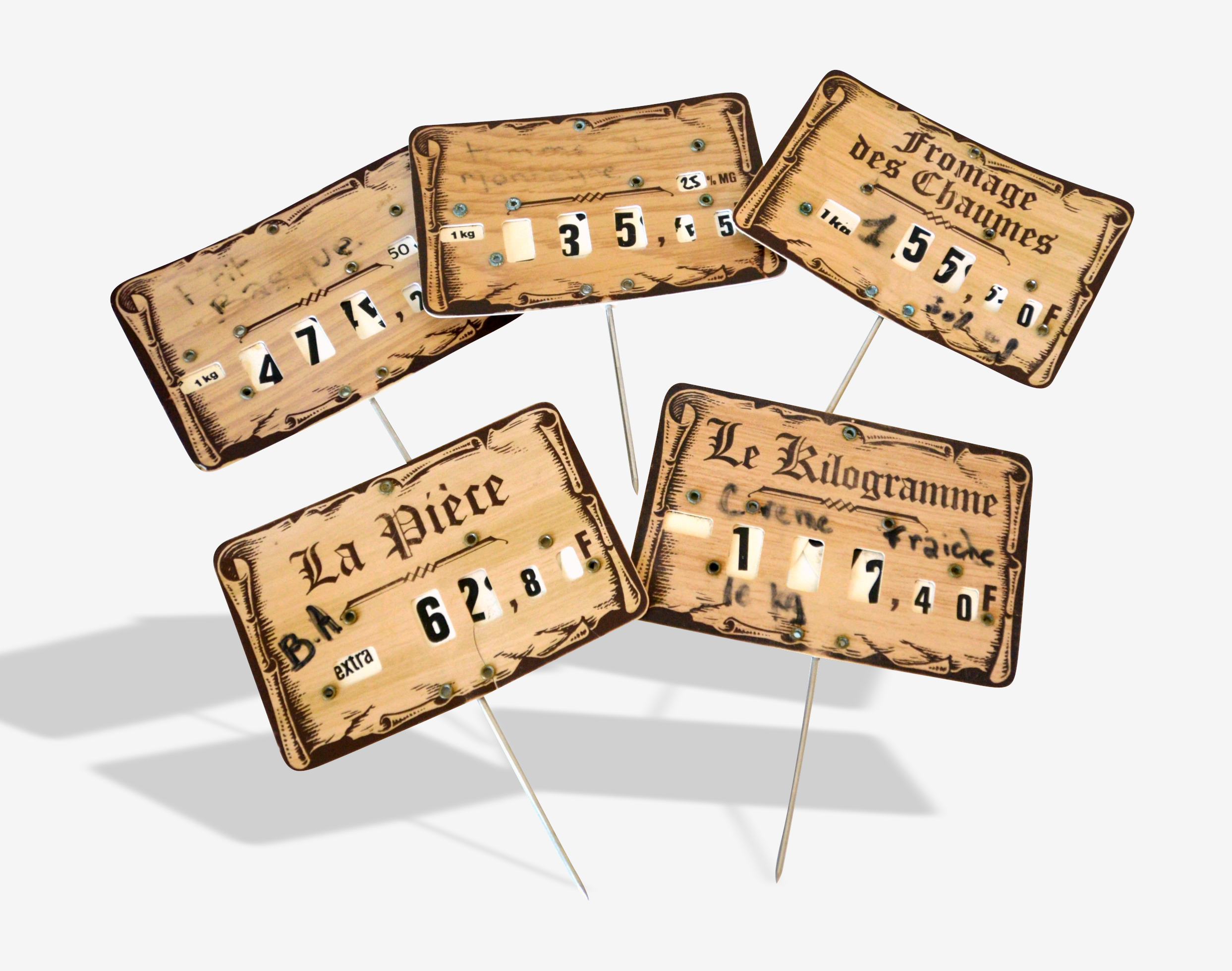 Lot of 5 labels price for cheese