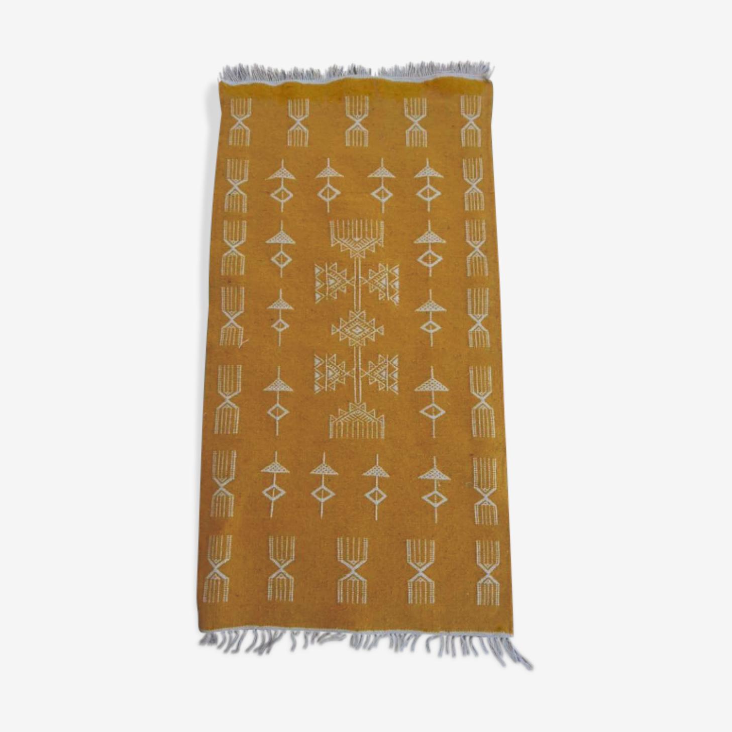 Berber kilim yellow wool 56x105cm