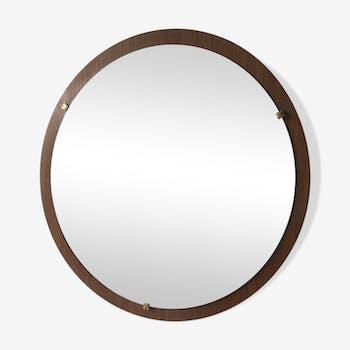 Mirror round vintage teak 66 x 66 cm