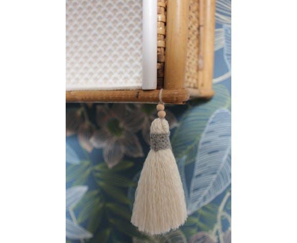 Étagère en rotin et bambou des années 60-70 relookée